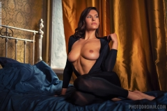 Suzanna Big Boobs Black Sheer Catsuit for Photodromm 005
