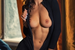 Suzanna Big Boobs Black Sheer Catsuit for Photodromm 006