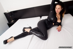 Talia Amanda Huge Tits in Black Latex Catsuit 003