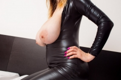 Talia Amanda Huge Tits in Black Latex Catsuit 006