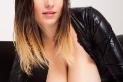 Talia Amanda Huge Tits in Black Latex Catsuit 008