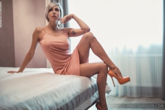 Tanita Big Tits in Peach Minidress and High Heels for Photodromm 001
