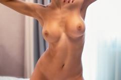 Tanita Big Tits in Peach Minidress and High Heels for Photodromm 008
