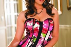 Taylor Vixen Big Boobs Pink Corset and Fishnet Stockings 001