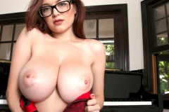 Tessa Fowler Big Boobs Red Bra Stockings and a Piano 016