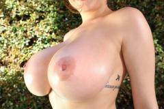 Tessa Fowler Huge Tits in Red and Black Bikini 006