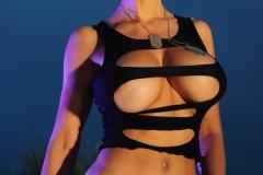 Veronika Zemanova Big Tits Ripped Shirt and Denim Shorts 002