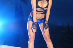 Veronika Zemanova Big Tits Ripped Shirt and Denim Shorts 007