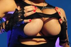 Veronika Zemanova Big Tits Ripped Shirt and Denim Shorts 008