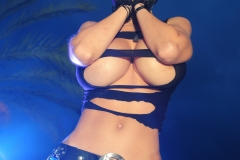 Veronika Zemanova Big Tits Ripped Shirt and Denim Shorts 009