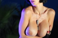 Veronika Zemanova Big Tits Ripped Shirt and Denim Shorts 014