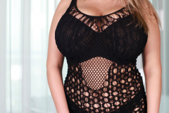 Vivian Blush Huge Boobs in Black Crochet Minidress 001