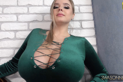Vivian Blush Huge Cleavage in Green Minidress 006