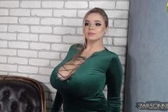 Vivian Blush Huge Cleavage in Green Minidress 008