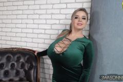 Vivian Blush Huge Cleavage in Green Minidress 009