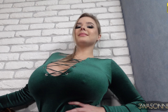Vivian Blush Huge Cleavage in Green Minidress 011
