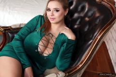 Vivian Blush Huge Cleavage in Green Minidress 030