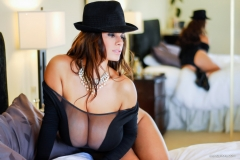 Wendy Fiore Huge Tits Behind Black Mesh 006