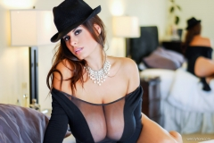 Wendy Fiore Huge Tits Behind Black Mesh 007