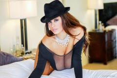 Wendy Fiore Huge Tits Behind Black Mesh 009