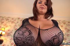 Xenia Wood Huge Boobs in Black Lacy Top 005