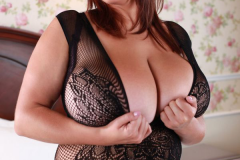 Xenia Wood Huge Boobs in Black Lacy Top 007