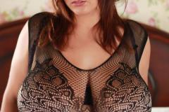 Xenia Wood Huge Boobs in Black Lacy Top 009