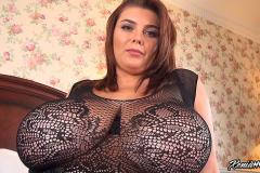 Xenia Wood Huge Boobs in Black Lacy Top 010