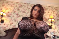 Xenia Wood Huge Boobs in Black Lacy Top 014