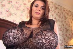 Xenia Wood Huge Boobs in Black Lacy Top 018