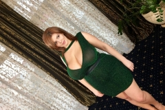 Xenia Wood Huge Cleavage Green Sparkly Dress 001