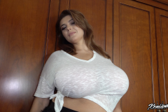 Xenia Wood Huge Ttis in a White Tshirt 003