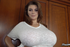 Xenia Wood Huge Ttis in a White Tshirt 011