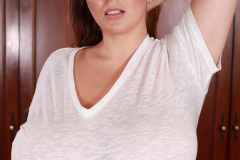 Xenia Wood Huge Ttis in a White Tshirt 014