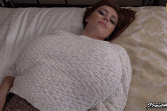 Xenia Wood Massive Boob White Sweater Meat 001