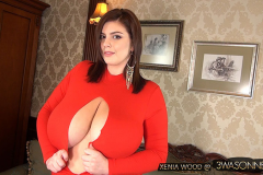 Xenia Wood Massive Tits Red Dress 002