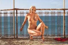 YAsmin Big Tits Blond in Wet Look Red Dress 19