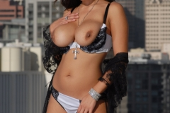 Yurizan Beltran Big Tits Come Out of Her Bra on the Roof 122