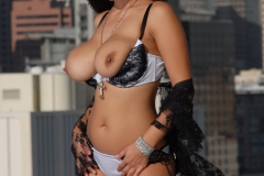Yurizan Beltran Big Tits Come Out of Her Bra on the Roof 132