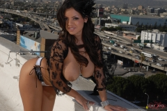 Yurizan Beltran Big Tits Come Out of Her Bra on the Roof 200