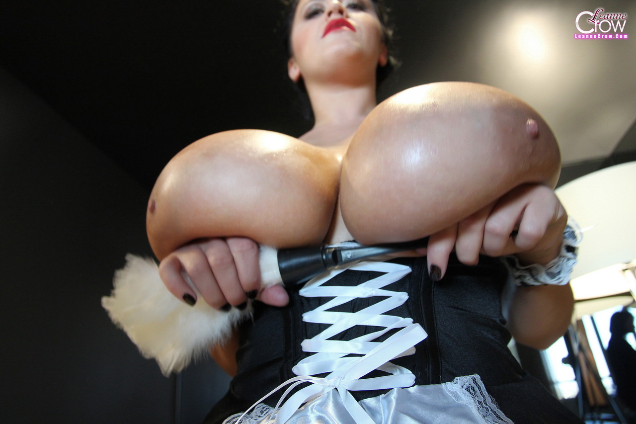 Leanne Crow Tits bursting out of maid's uniform 09
