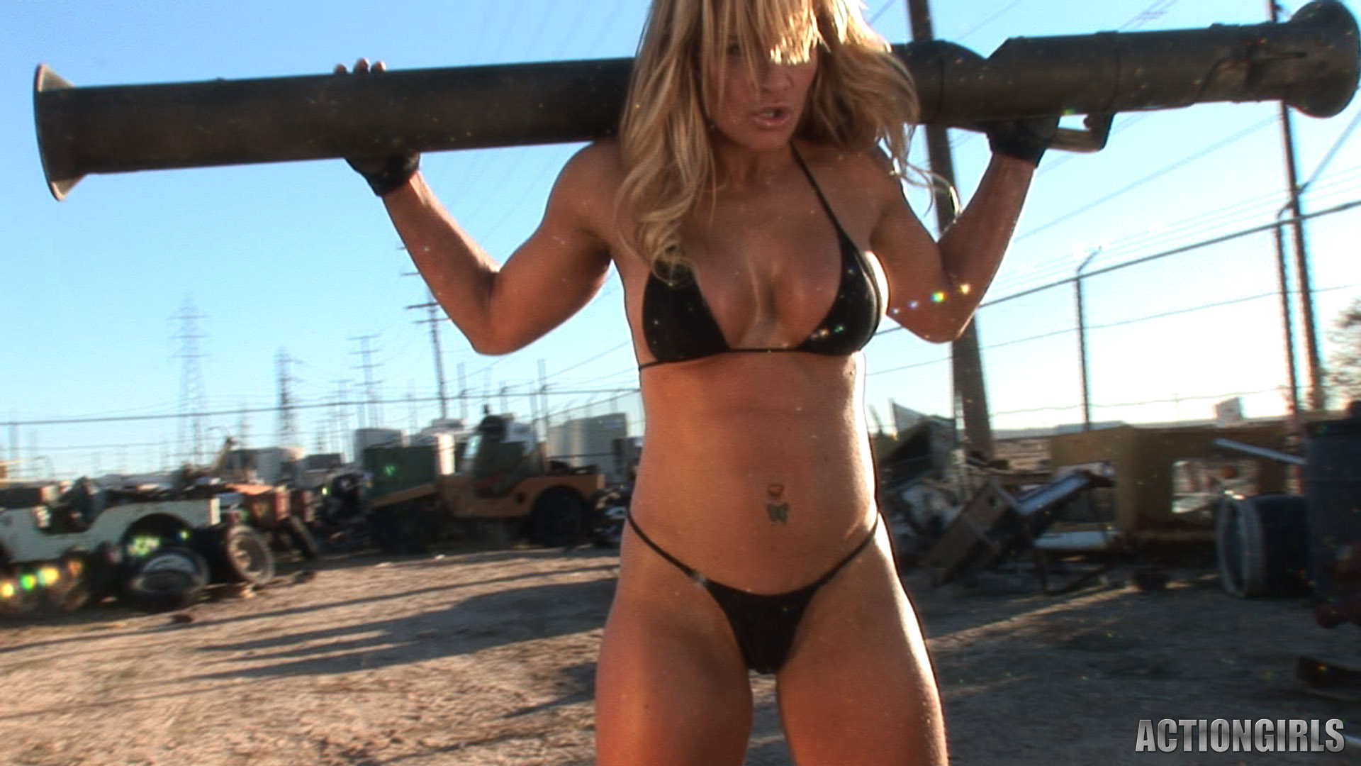 ActionGirls fitness girl Michelle gets sweaty - Feel the curves boobs ...