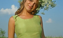 Elena Big Boobs Green dress in a green field for Body in Mind