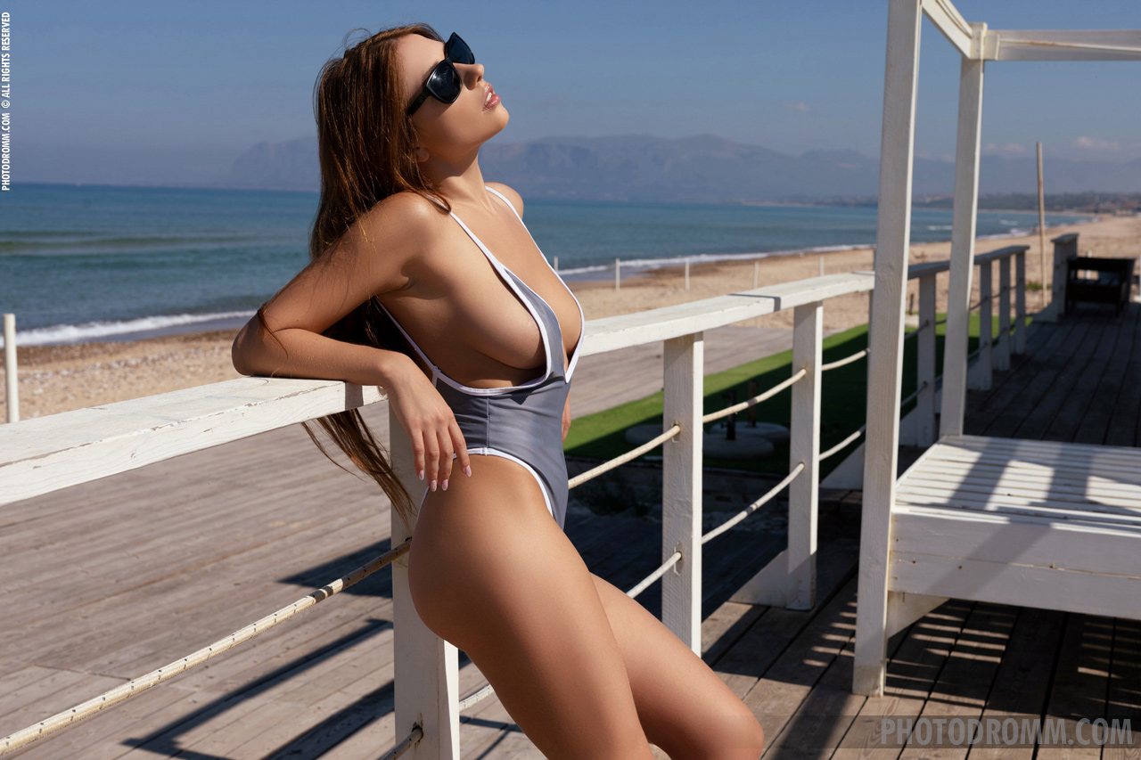 Niemira Big Boobs in Sexy Silver Swimsuit and Heels for Photodromm