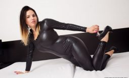 Talia Amanda Huge Tits in Black Latex Catsuit