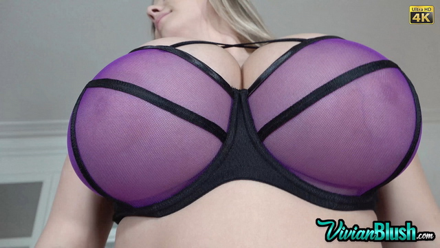 Vivian Blush Huge Tits in Purple Mesh Bra