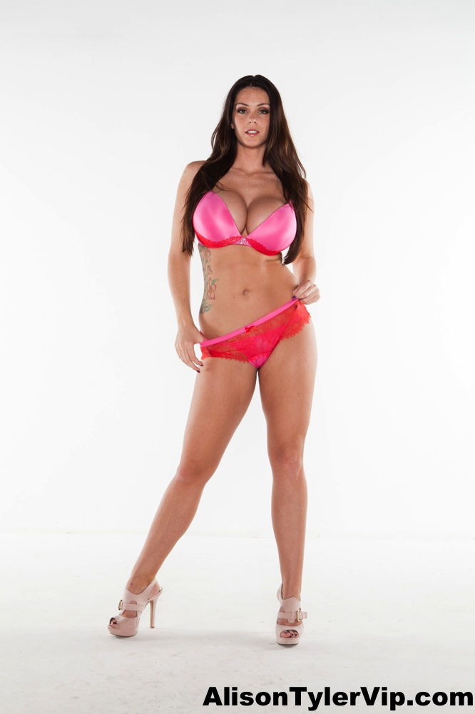 Alison Tyler Big Tits Shocking Pink Bra and Panties