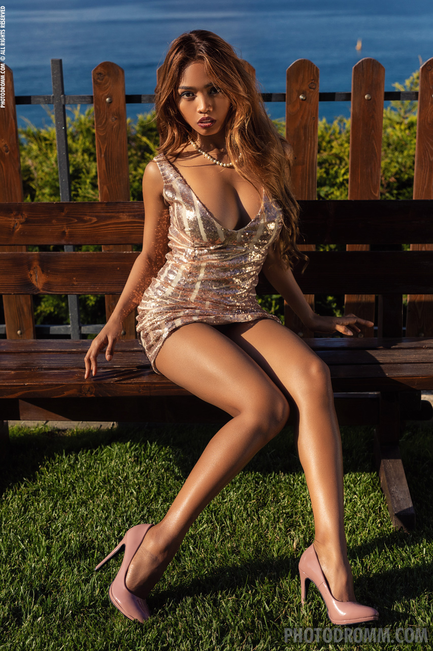 Cruzlyn Big Boobs Naked in Silver Sparkly Minidress on a Park Bench for Photodromm