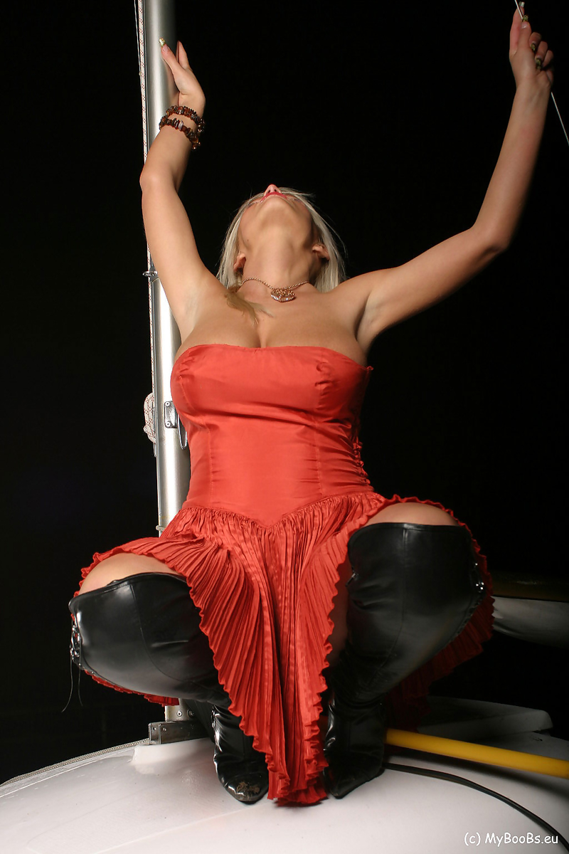 Ines Cudna Big Tits in a Red Dress and Thigh High Boots