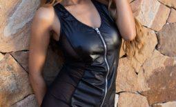 Cruzlyn Big Boobs Naked in Black Leather Minidress for Photodromm